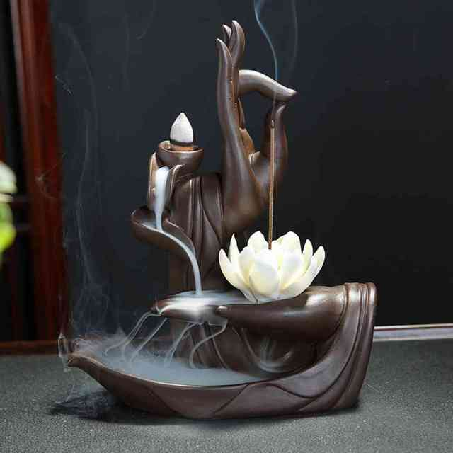 Creative Ceramic Waterfall Backflow Incense Burner Tathagata Buddha Lotus Incense Cones Stick Holder Use In Home Office Teahouse