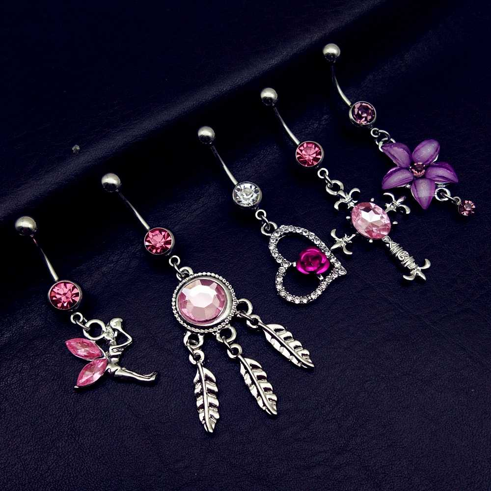 5pcs 2019 mix style pink angel dream catcher cross rose flower dangle navel belly bar button rings body piercing jewelry