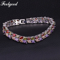 Feelgood Luxury Bride Jewelry Fashion Elegant Style Leaf Shape Cubic Zirconia Bracelets For Women Wedding Christmas