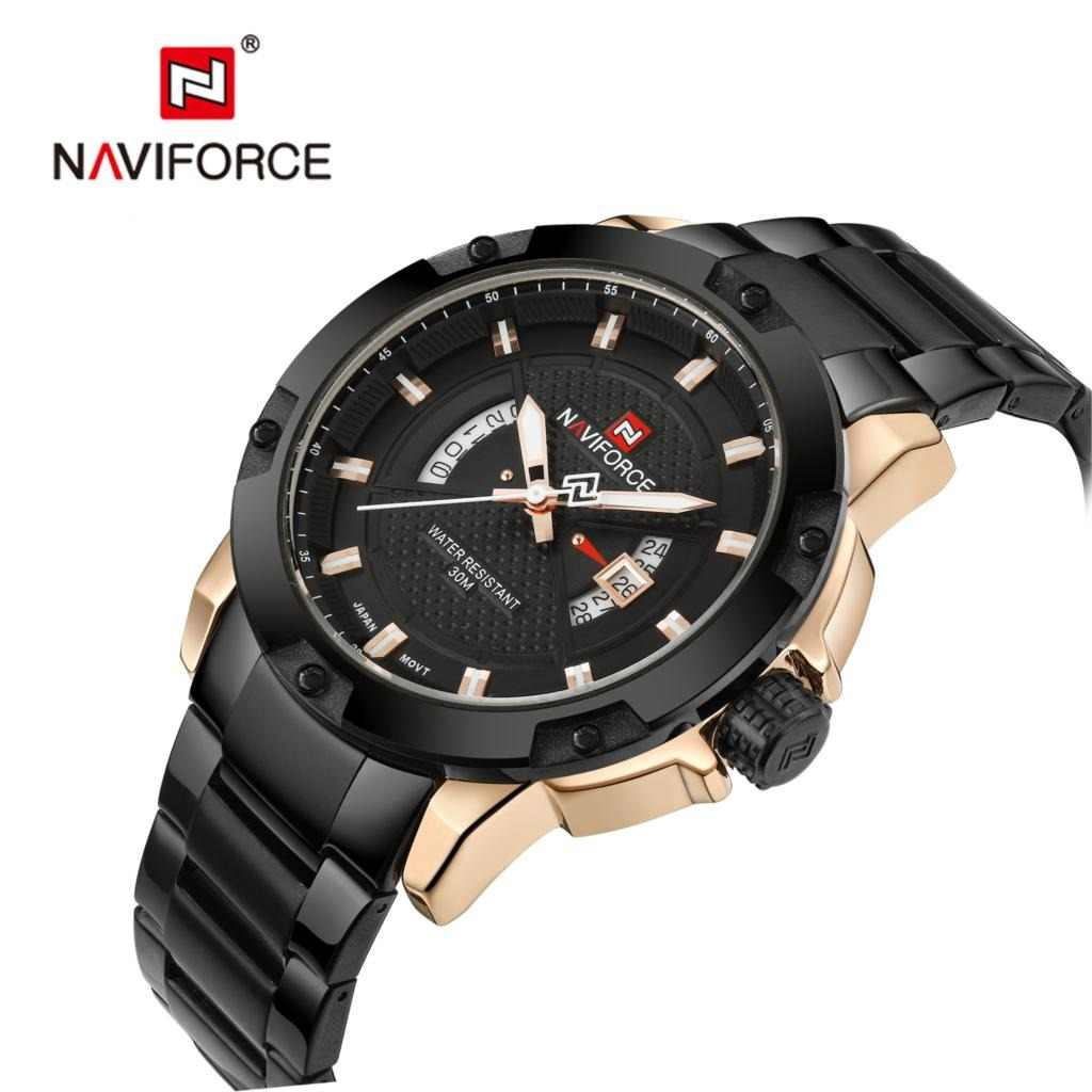 NAVIFORCE Mens Watches Top Luxury Brand Men Full Steel Hour Quartz Watch Analog Waterproof Sports Army Military WristWatch Clock