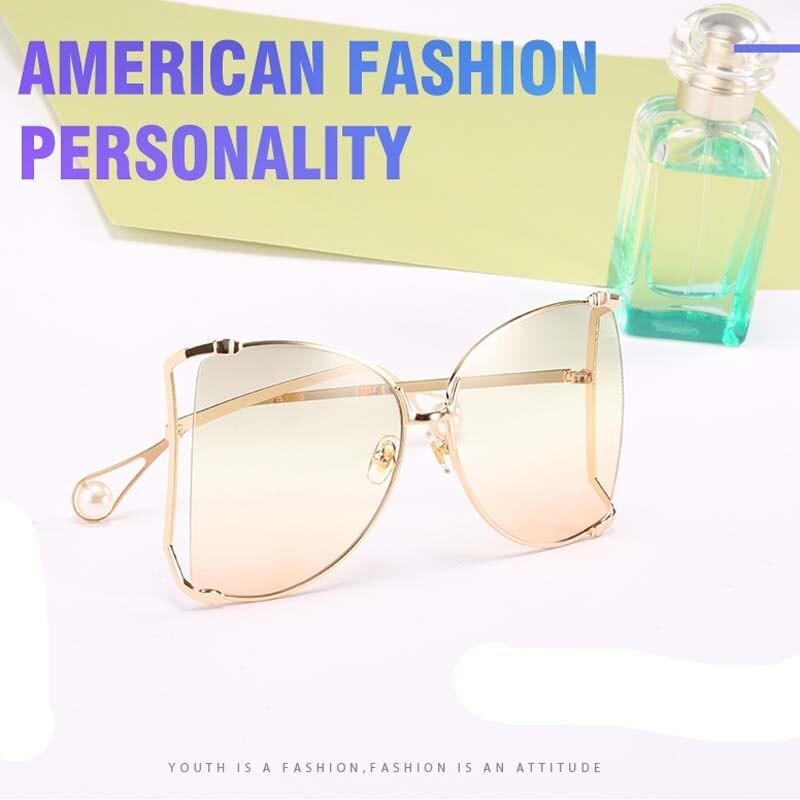 Fashion Oversized Sunglasses Women 2019 Brand Designer Big Square Sun Glasses Pearl Decoration Cat Eye Shades