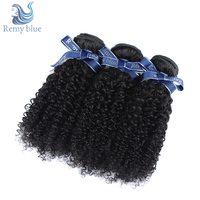 Remy Blue Peruvian Afro Kinky Curly Hair 3 Bundles Natural Color 100% Human Hair Weave Remy Hair Bundles Extensions No Shedding