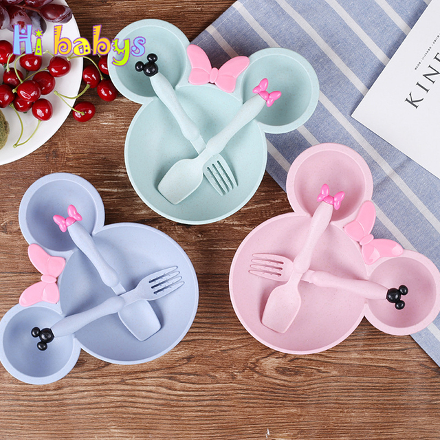 3pcs/set Baby Feeding Bowl Bowl/Spoon/Fork Tableware Food Dishes Wheat Straw Dinner Plate Cartoon Mikey Mouse Training Bowl