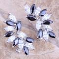 Fantástico Black Safira Criado Branco CZ 925 Sterling Silver Clipe Brincos Huggie Para Mulheres S0233
