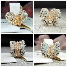 Fashion Butterfly Claw Women Girl Crystal Rhinestone heart stars shape rose gold Hair Clip Clamp Jaw Hairpin lady headwear W16