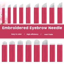 купить 7 9 11 12 14 16 18 Pin U shape Permanent Makeup Eyebrow Tattoo Needles Blade For 3D Embroidery Microblading Tattoo Pen accessory по цене 517.14 рублей