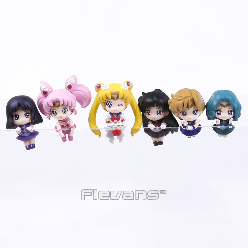Sailor Moon Tea Cup Decorations Mini PVC Figures Toys 6pcs/set Tsukino Usagi Chibi Usa Sailor Uranus Pluto Neptune Saturn Boxed 6pcs set sailor moon tsukino usagi chibi usa sailor mars mercury venus jupiter kimono pvc action figure model toys 5cm kt3731