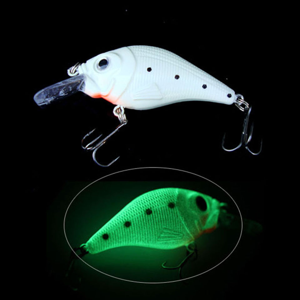 1PCS Fishing Lure Crankbait Hard Bait Luminous Crank Bait Night Fishing Lures ორი სამკუთხედის კაკვები