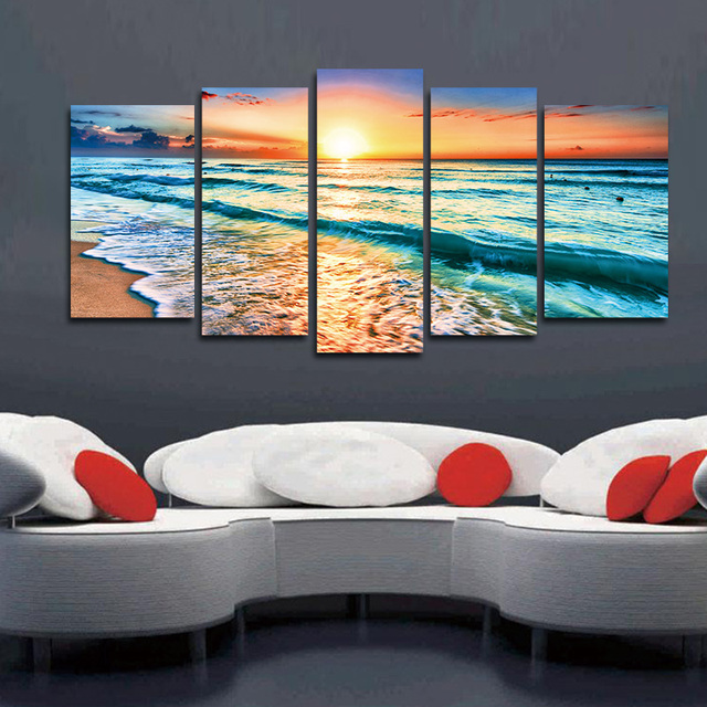 Artwork 5 Panels Wall Art Canvas Seascape Paintings Beach Wall Decor ...