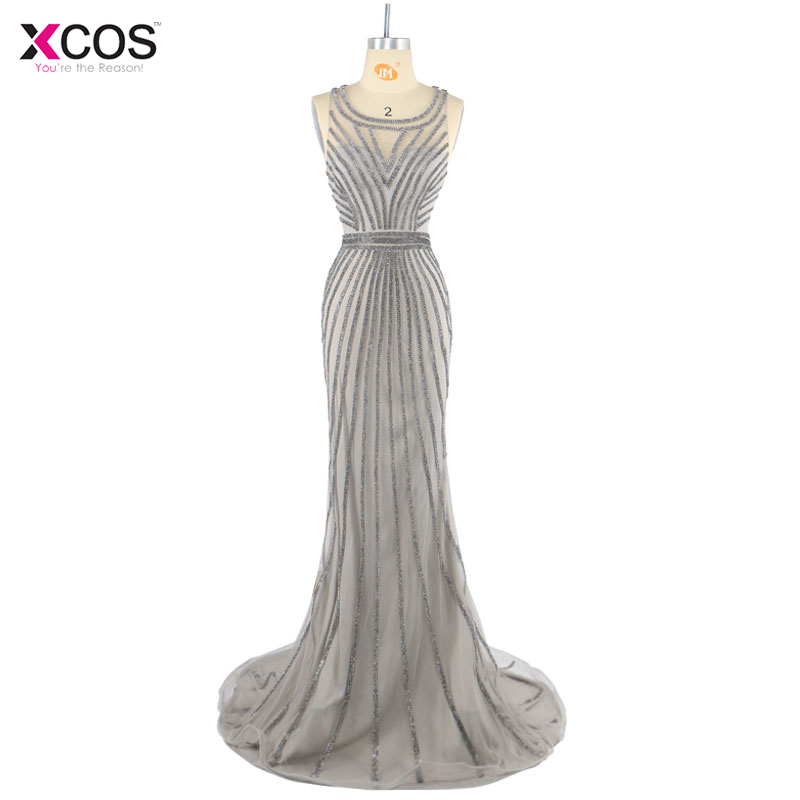 Robe De Soiree Luxury Silver Grey Sparkle Crystal Rhinestone Evening Dresses 2017 Tulle Mermaid Long Formal Party Gowns