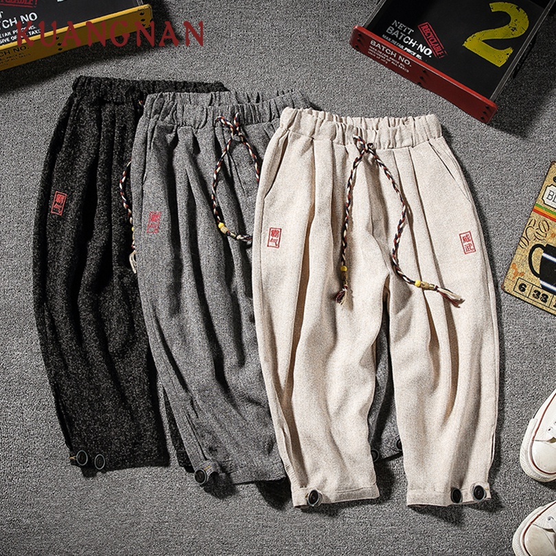 KUANGNAN Trousers Men Pants Calf-Length-Pants Hip-Hop New 5XL