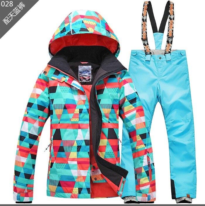 Prix pour Livraison gratuite Gsou SNOW Femmes de Ski Costume Ensembles Snowboard ski veste + pantalon de ski imperméable coupe-vent Respirant sport vêtements chauds