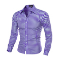 2017 Новое Прибытие мужская Мода Плед Рубашку с Длинными рукавами Мужские Случайные Высокое Качество сетки Рубашка