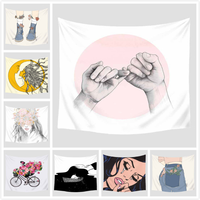 Cartoon Illustration Printed Tapestry Wall Hanging Decoration Furnishing Travel Picnic Beach Shawl Camping Bohemian Blanket 2019