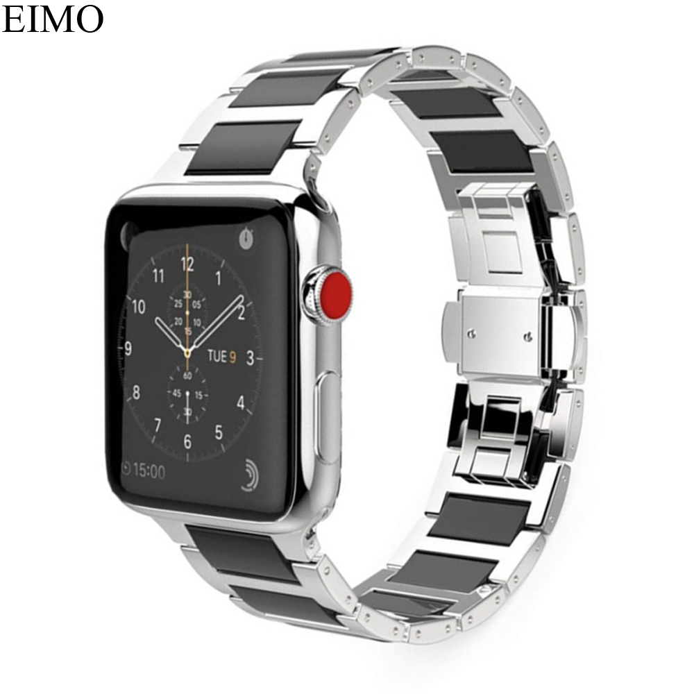 EIMO Stainless Steel band Strap For Apple watch 4 38mm 42mm iwatch Series 3/2/1 Link Bracelet Wristband Ceramic Watchband Black dahase stainless steel link chain strap for apple watch series 3 band 42mm 38mm bracelet for iwatch series 1 2 3 metal wristband