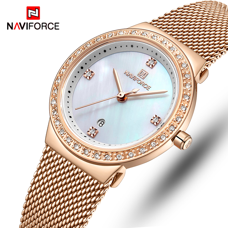 Femmes montre NAVIFORCE quartz pour mode décontractée montres dames étanche montre-bracelet en acier inoxydable fille horloge Relogio Feminino