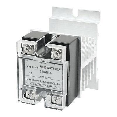 4-20mA to AC 28-280V 25A Single Phase Clear Cover Solid State Relay w Heatsink high quality ac ac 80 250v 24 380v 60a 4 screw terminal 1 phase solid state relay w heatsink