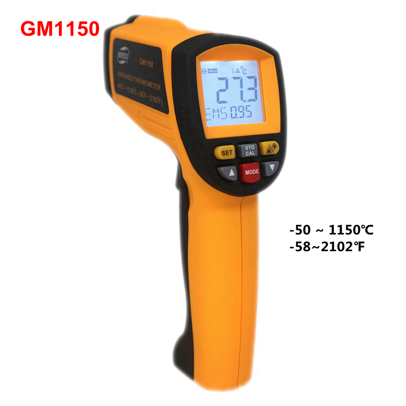 GM1150 Infrared Laser Temperature Meter Monitor -50 ~ 1150C ( -58~2102 F) IR Thermometer Gun Point Pyrometer with LCD Backlight benetech lcd digital infrared thermometer pyrometer laser point temperature gm300 meter free shipping