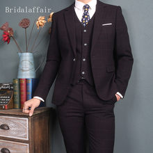 Bridalaffair Mens Suits (Jacket+Vest+Pants) Set Modern Latest Coat Pants Design Plaid Color Purple Tuxedo Wedding Prom Suit 2018(China)