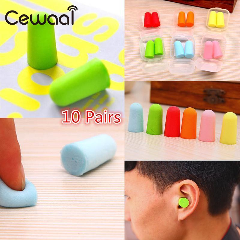 Cewaal 10 Pair Earplugs New Fasion Cute 1Pair Colour Foam Soft Ear Plugs Sleep Plane Earplugs Noise Reducer Hot Good Quality