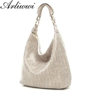 Image 1 - Arliwwi 100% Genuine Leather Shiny Serpentine Shoulder Bags Big Casual Soft Real Snake Embossed Skin Big Bag Handbags Women GB02