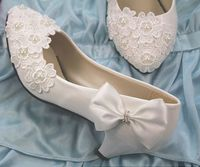 New 2018 women's wedding shoes white low high heels bow flower lace bridal wedding pumps custom handmade pearl brides shoes