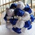 Сапфир синий лента свадьба букет украшены жемчуг алмаз лента невесты с цветами в руках цветы SH17