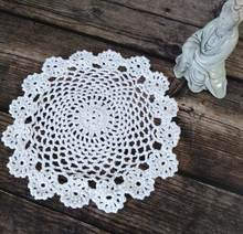 Modern Cotton Crochet Doily Width 20cm Round Placemats Cup Coaster Kitchen Mug Mat Pads Table Decoration Placemat Accessories(China)