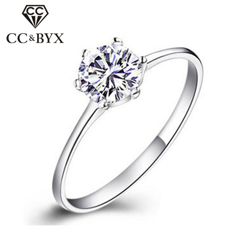 Anillos de compromiso para mujeres Simple Classic Bague CC041 Color de oro blanco CZ Jewelry Bijoux Femme Wedding Ring Women