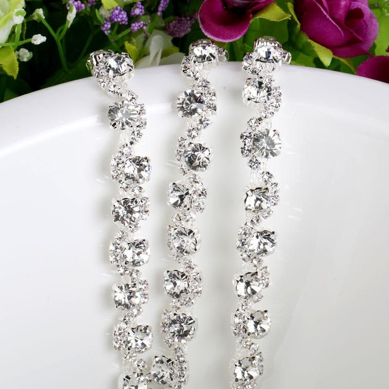 diy crystal rhinestone round beaded flower chain trimmings for wedding dress  garments decoration 660024468b13