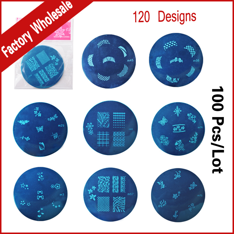 100pcs Stainless Steel 120Designs Nail Art Image Plate Stamp Stamping Polish Print Manicure Nail Template 4pcs christmas halloween owl 4 design stainless steel nail plates nail art image konad print stamp stamping manicure template