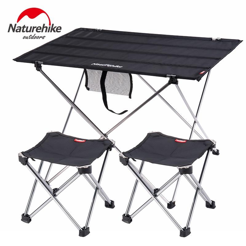 Naturehike plegable de aluminio ligero portátil enrollable al aire libre plegable mesa de Camping Patio de Metal mesa de Picnic plegable