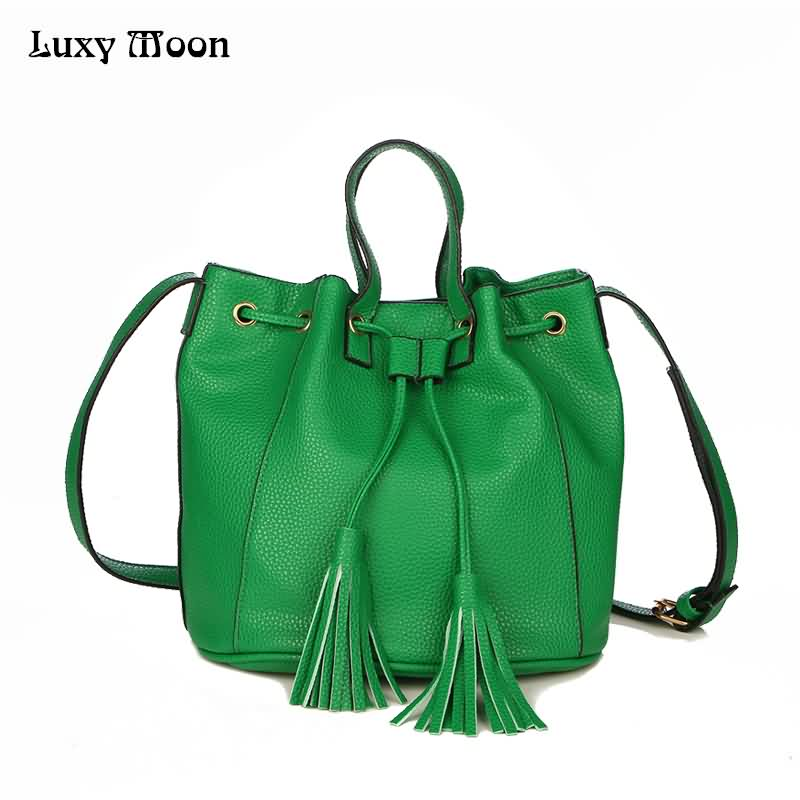 New Arrival Tassel Bucket Bag Small Tote Bag Litchi Grain Leather handbags Shoulder Messenger Bags For Women bolsa feminina A434