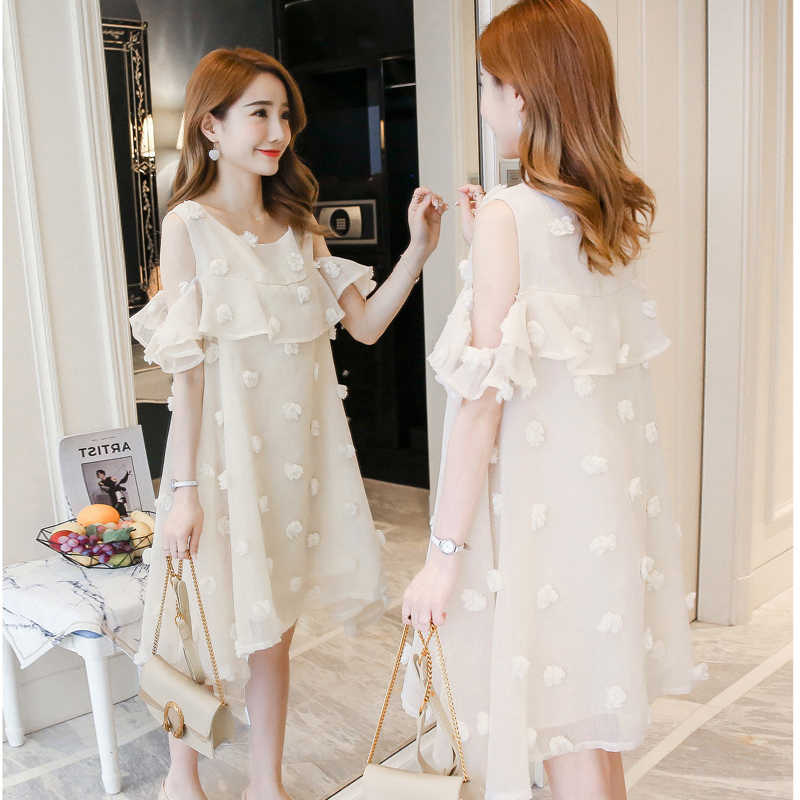 Summer New Fashion Korean Version Maternity Dress Bare shoulder Loose Long  Section Pregnant Women Dress Tide e1d9baa58ab1