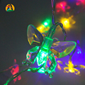 2017 Del Banquete de Boda Decoración 20LED 2 M RGB Colorida Mariposa LED Luces Navideñas Batería AA Operado Decoración Novedad. Luz de la secuencia