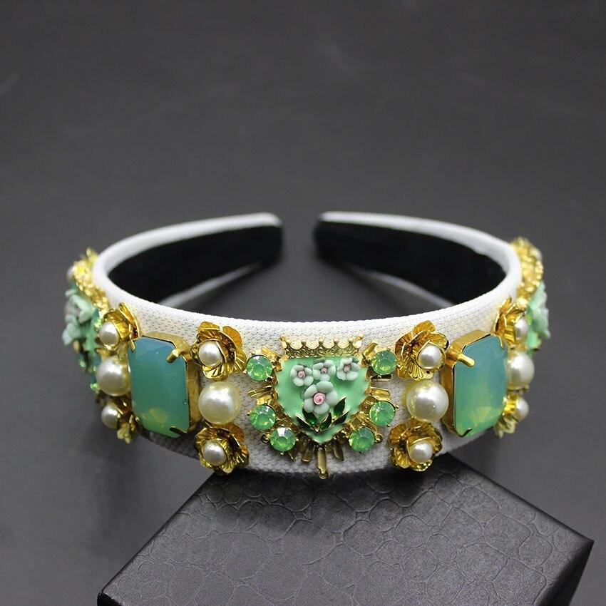 Green Women Wedding Crown Hair Accessories Bridal Tiara Luxury Vintage Flower Headbands Crystal Hairband 206