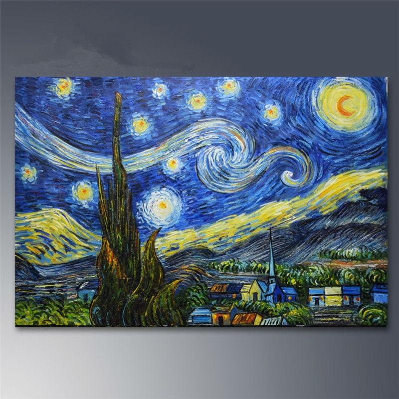 Handgeschilderde Canvas schilderijen Van Gogh Sterrennacht schilderij - Huisdecoratie