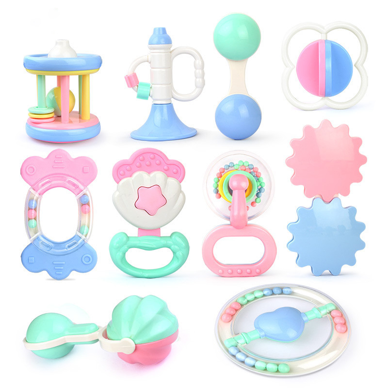 10Pcs 0-3 Years Old Baby Education Can Be Boiled Gutta Rattle Molars Toys Men And Women Baby Baby Hand Grasping Toys 10 Comfort
