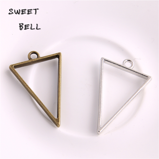 20pcs 25*39mm Alloy jewelry setting accessories triangle charms Hollow glue blan