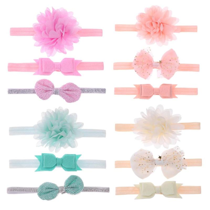 3pcs/lot Toddler Baby Girls Elastic Flower Headband Soft Strenchy Bowknot Floral Headband Baby Headwear Girls Princess Hair Band plain headband 3pcs