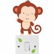 Cartoon Monkey Color Light Switch Wall Sticker For Nursery Childrens Bedroom Fun Animals Removable Art Decals Wallpaper