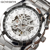 2017 Luxury Automatic Mechanical Men Watch Self Winding Skeleton Stainless Steel Business Men S Watch Waterproof