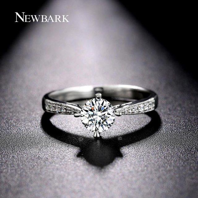 NEWBARK Round Prong Setting Wedding Women Rings Cubic Zirconia ...