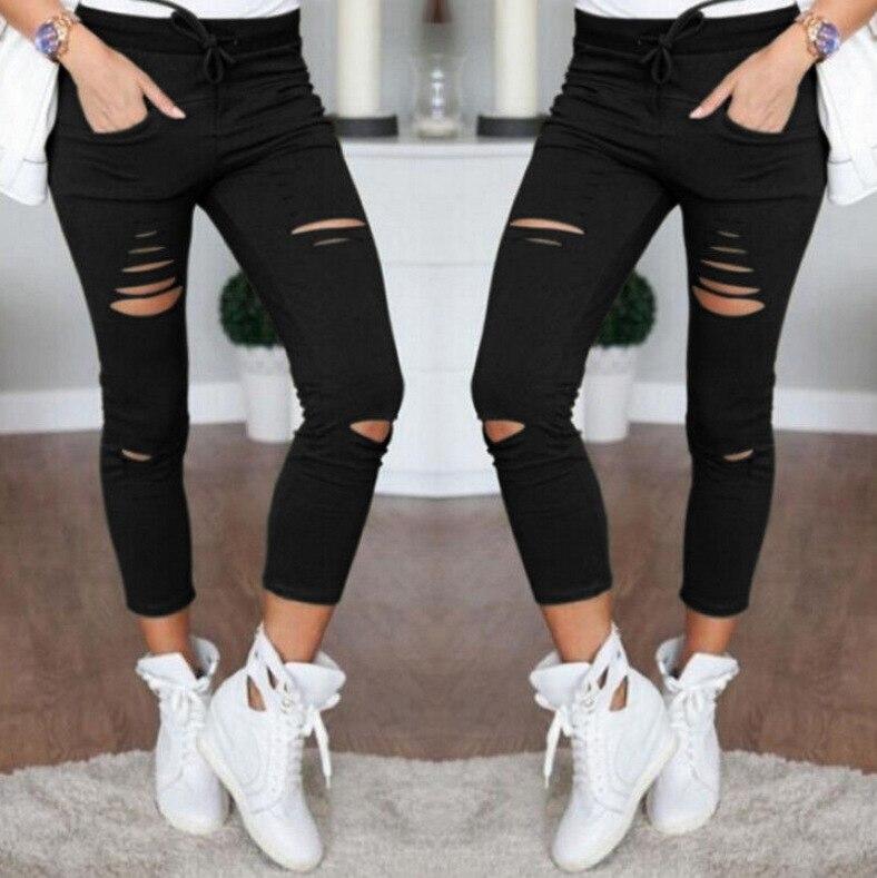 2019 Summer Women Skinny Cut Pencil Pants High Waist Stretch Jeans Trousers Casual Fashion Cotton Pants Slim Legging White Black 23