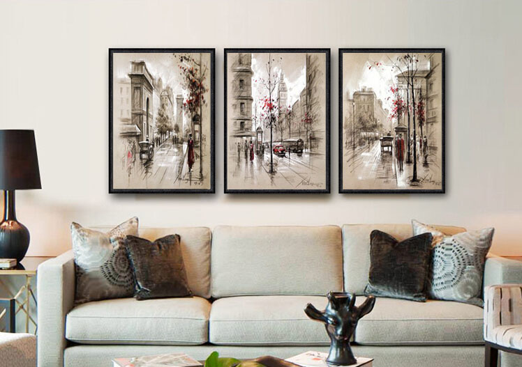 Wall Art No Frame 3 Piece Modern Style Abstract Oil