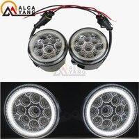 1 set Angel Eyes Fog Lamp Assembly Super Bright LED Fog Light For Nissan Note E11 Murano Z51 Lafesta Presage 2004 2015
