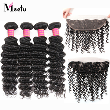 Meetu Indian Deep Wave Bundles with Frontal 4 Bundles with Frontal Non Remy Human Hair Bundles with Ear to Ear 13x4 Lace Frontal