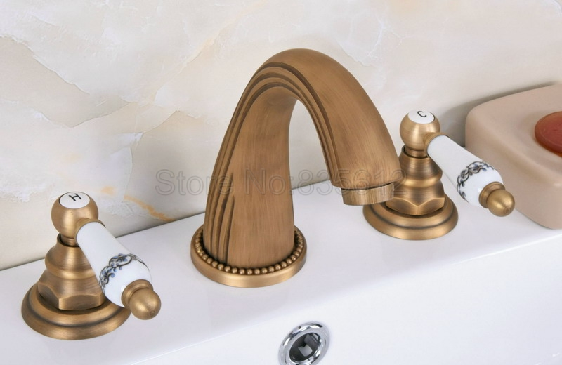 Antique Brass Dual Handles Widespread Bathroom Basin Mixer Tap / Three Hole Deck Mounted Vessel Sink Faucet Wan071Antique Brass Dual Handles Widespread Bathroom Basin Mixer Tap / Three Hole Deck Mounted Vessel Sink Faucet Wan071