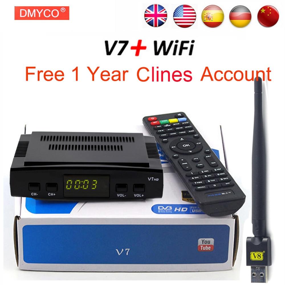 DMYCO Satellite TV Receiver decoder V7 HD DVB-S2 + USB Wfi with 7 lines Europe C-line account support powervu Receptor freesat v8 super receptor satellite receiver support powervu dre