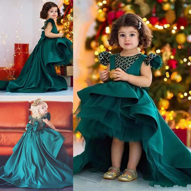 Newest Princess   Dress   for Cute Todder   Girl   High Low Green Satin Gowns with Big Bow and Cap Sleeves Kids Birthday Party Gowns